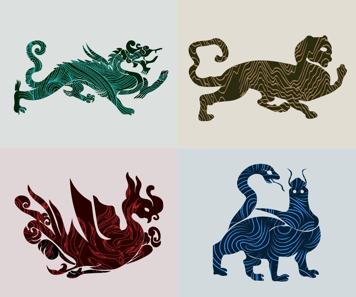 四大神兽:青龙,白虎,朱雀,玄武